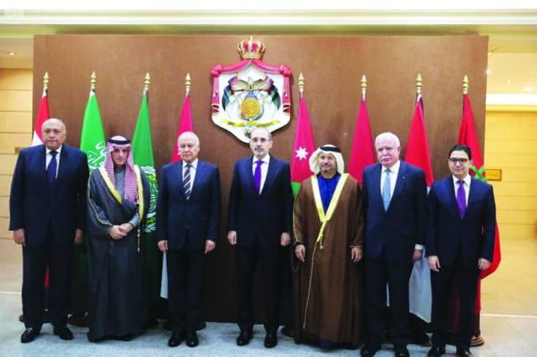 وزراء الخارجية بعد اجتماعهم أمس   (واس)