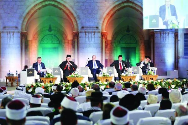 جانب من المؤتمر يوم أمس بحضور قادة من الديانات السماوية الثلاث