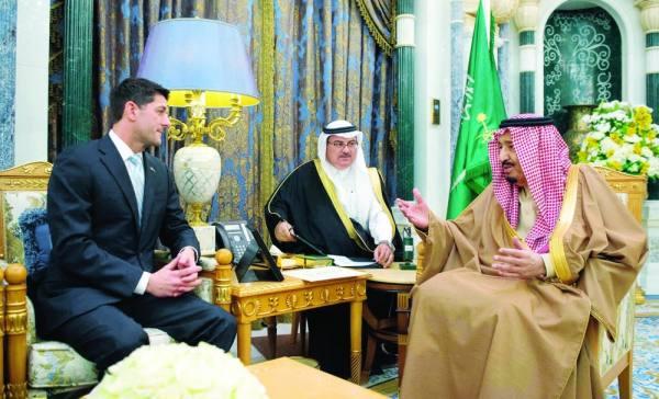 الملك سلمان خلال استقبال رئيس مجلس النواب الأمريكي
