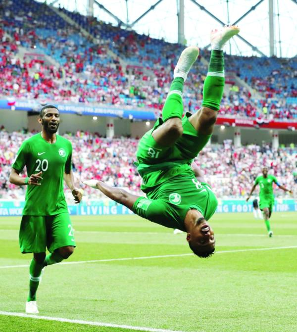 Soccer Football - World Cup - Group A - Saudi Arabia vs Egypt - Volgograd Arena, Volgograd, Russia - June 25, 2018 Saudi Arabia's Salem Al-Dawsari celebrates scoring their second goal REUTERS/Damir Sagolj