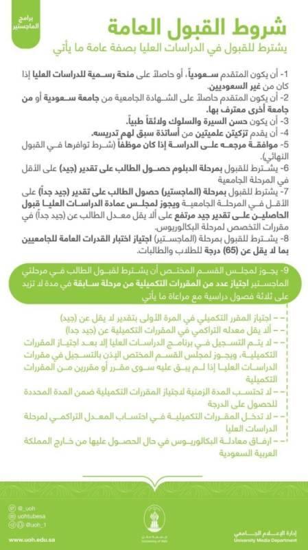 جامعة حائل تعلن عن برامج الدبلوم العالي والماجستير للعام الجامعي 1442هـ