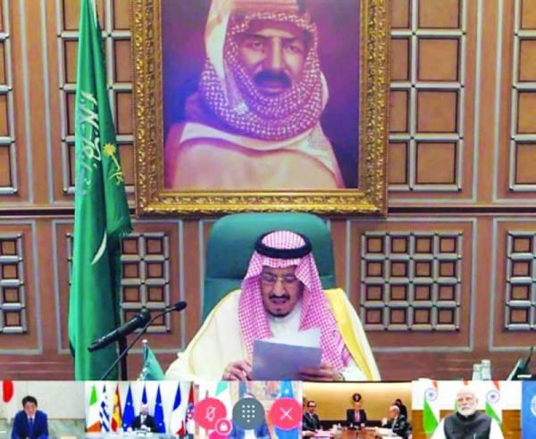 الملك سلمان خلال ترؤسه أحد اجتماعات مجموعة العشرين