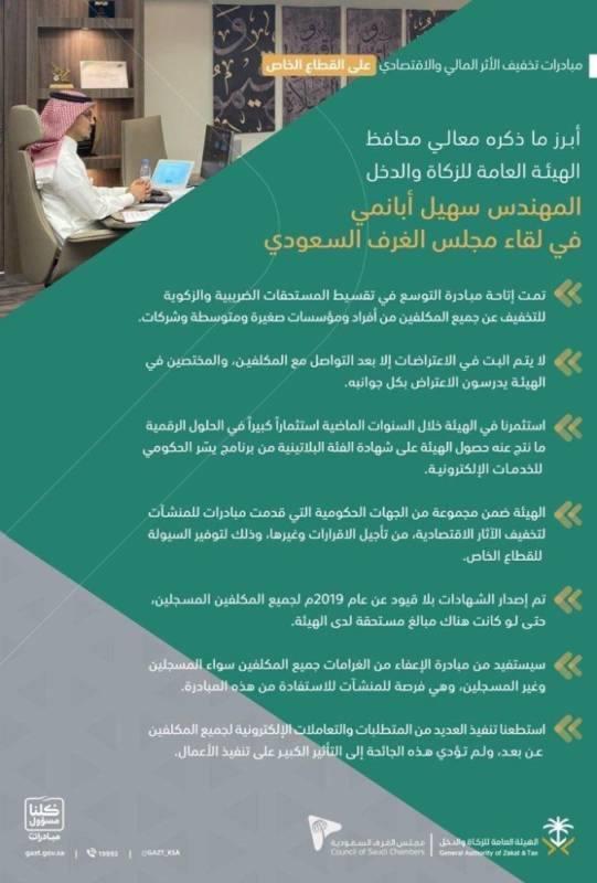 محافظ هيئة الزكاة : الحكومة حريصة على تقديم كل الدعم لنهوض المنشآت ونموها