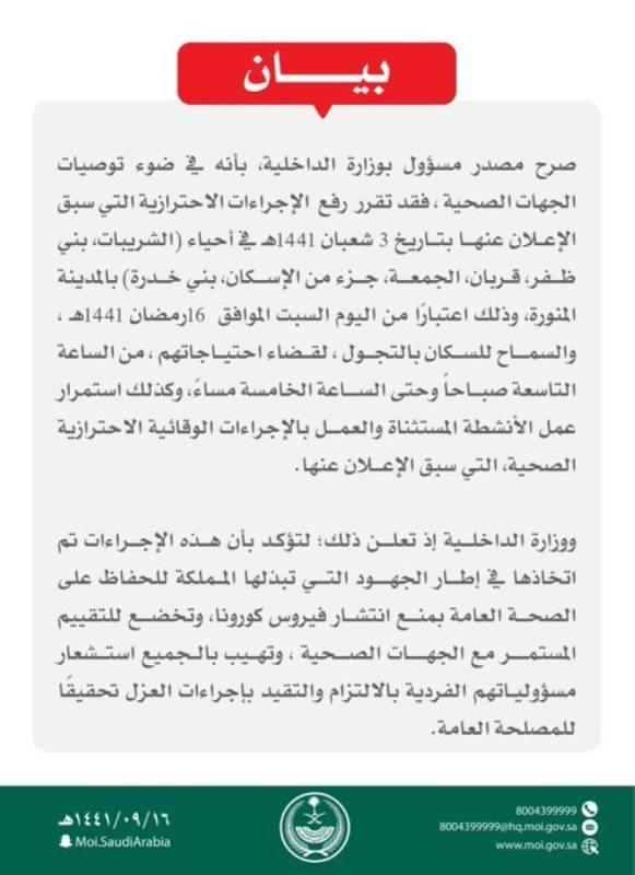 الداخلية: رفع الإجراءات الاحترازية عن 6 أحياء بالمدينة