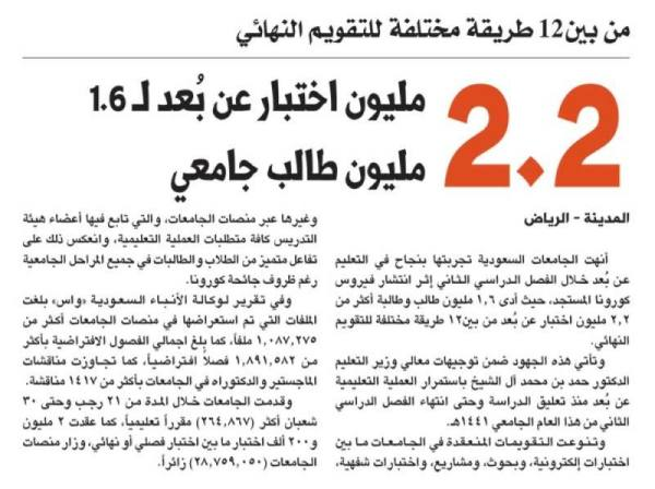 2.2 مليون اختبار عن بُعد لـ 1.6 مليون طالب جامعي