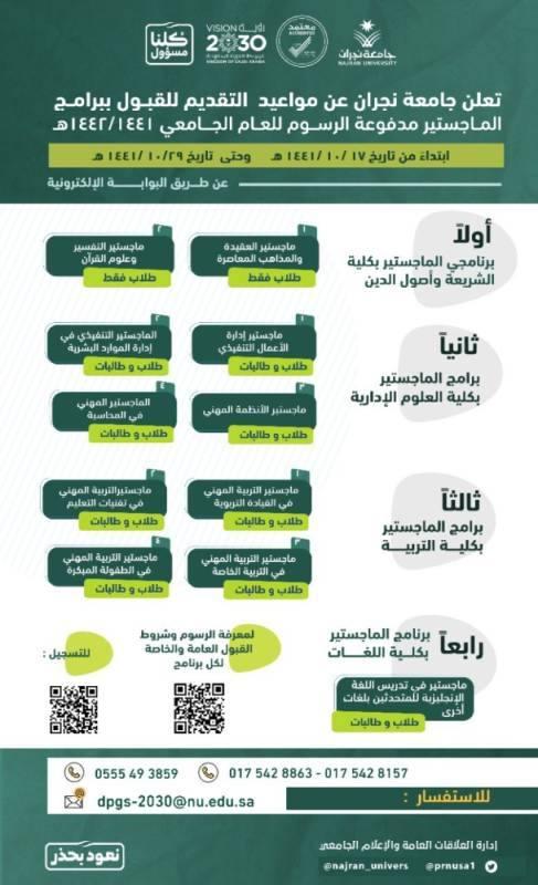 جامعة نجران: 17 شوال بداية التقديم لبرامج الماجستير المدفوعة