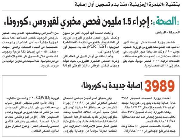 «الصحة»: إجراء 1.5 مليون فحص مخبري لفيروس «كورونا»