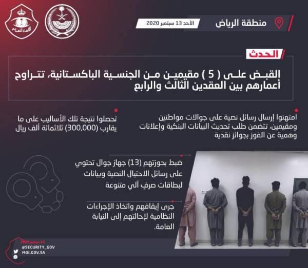 الرياض : القبض على خمسة امتهنوا اختراق الحسابات البنكية