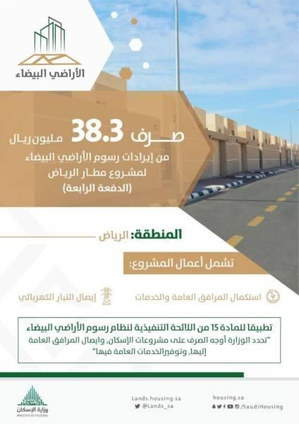 صرف 38 مليون ريال من إيرادات رسوم الأراضي لمشروع الإسكان غرب مطار الرياض