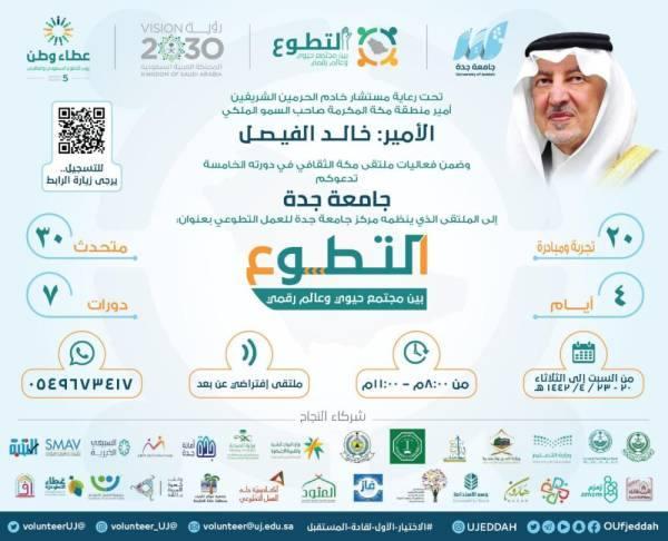 جامعة جدة تطلق ملتقى التطوع بين مجتمع حيوي وعالم رقمي بمشاركة 30 متحدث