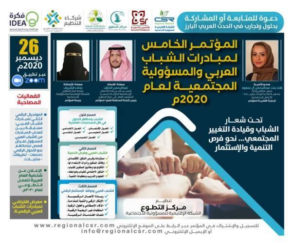 انطلاق المؤتمر الخامس لمبادرات الشباب العربي للمسؤولية المجتمعية 26 ديسمبر