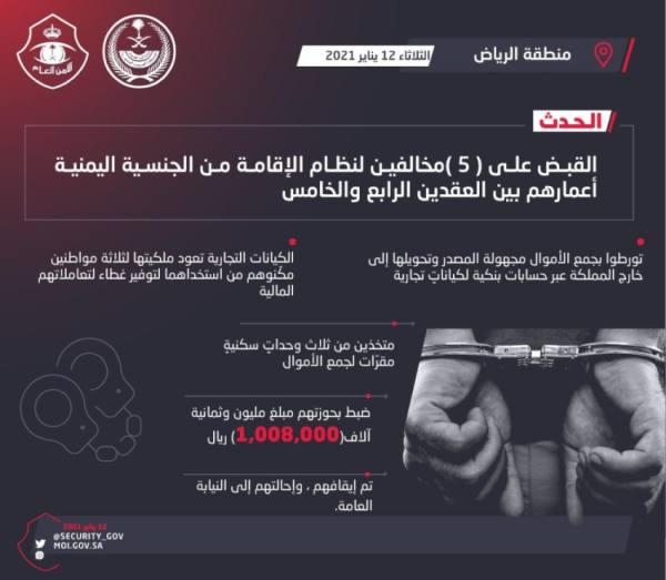 القبض على 5 مخالفين بالرياض حولوا أموالاً مجهولة إلى خارج المملكة