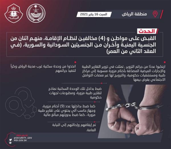 الرياض : القبض على مواطن و 4 مقيمين تورطوا في تزوير التقارير الطبية والإجازات المرضية