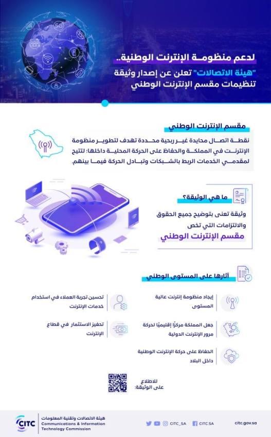 هيئة الاتصالات : إصدار وثيقة تنظيمات مقسم الإنترنت الوطني