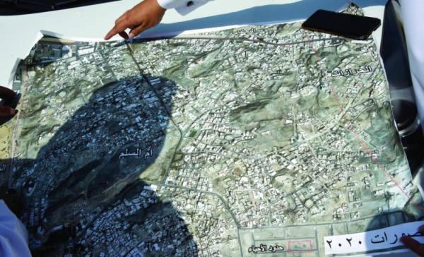 خريطة للمواقع المخالفة ضمن حدود وقف الملك عبدالعزيز
