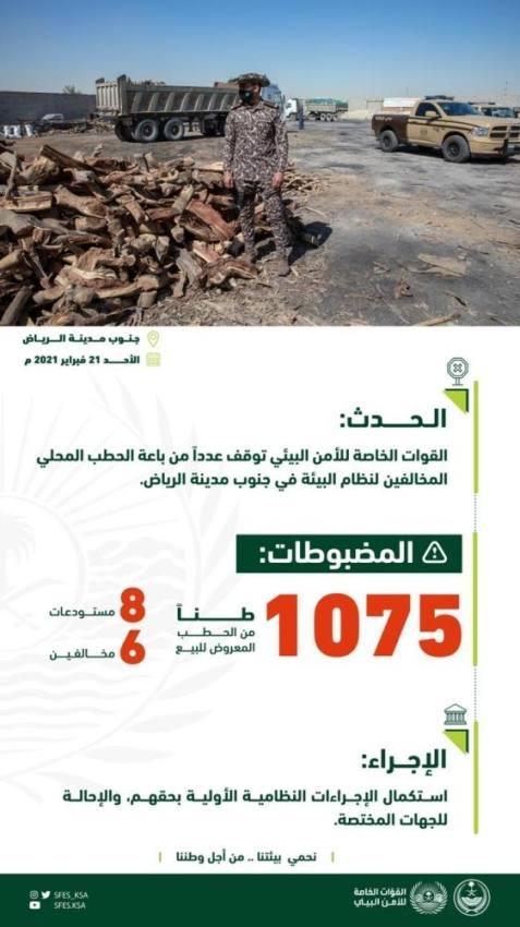الرياض : ضبط 1075 طناً من الحطب المحلي المعروض للبيع