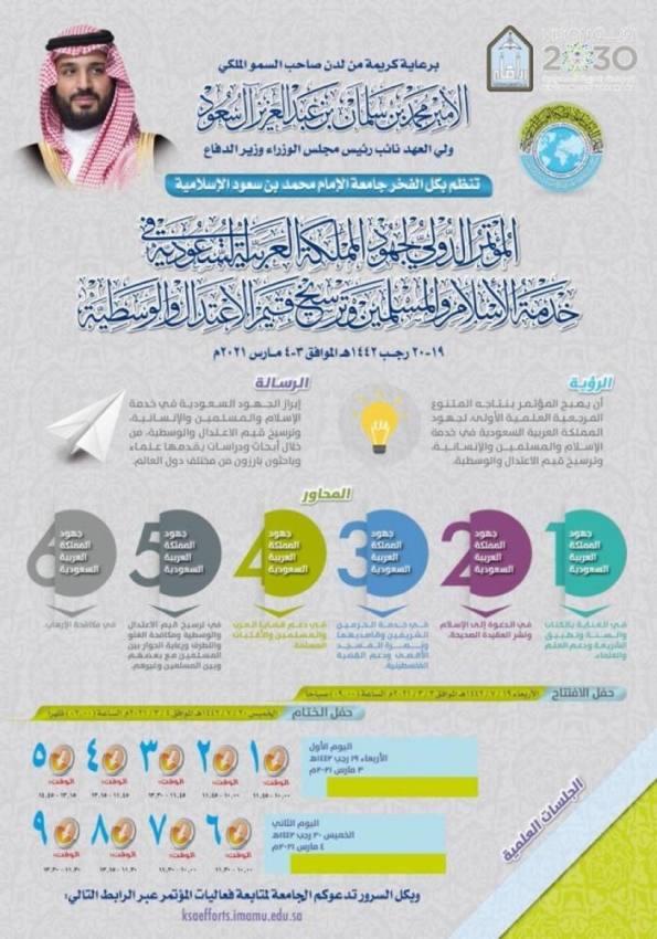 مؤتمر دولي حول جهود المملكة في خدمة الإسلام والوسطية بجامعة الإمام.. غدًا