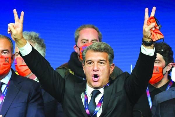 لابورتا يحتفل بفوزه في الانتخابات رئيسًا لبرشلونة