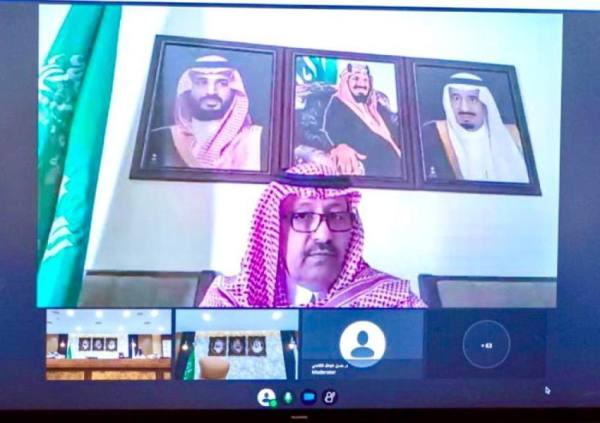 سمو أمير الباحة خلال حفل التدشين عبر الاتصال المرئي