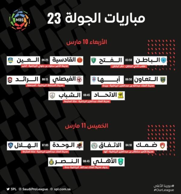 الجولة الـ 23 من دوري كأس الأمير محمد بن سلمان للمحترفين