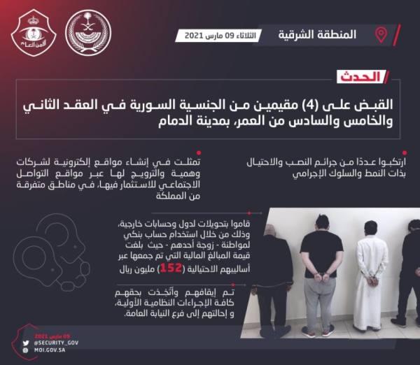 القبض على 4 مقيمين لارتكابهم جرائم نصب واحتيال بالشرقية