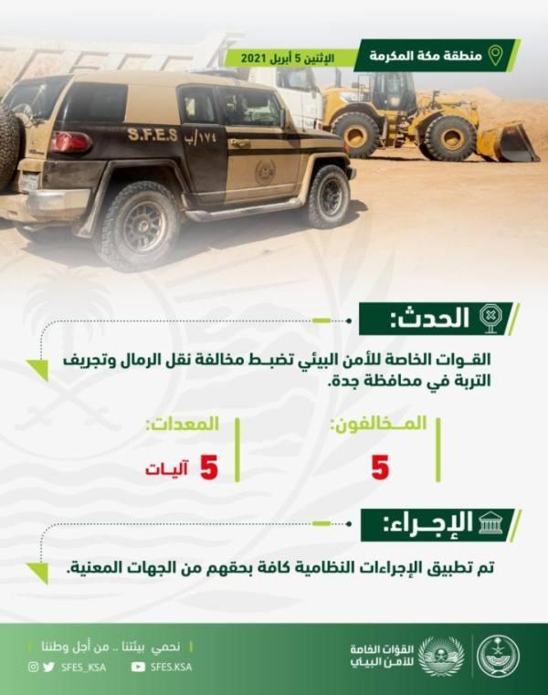 القوات الخاصة للأمن البيئي تضبط مخالفين ينقلون الرمال ويجرفون التربة