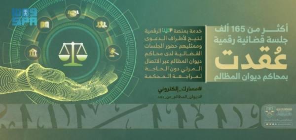 أكثر من 165 ألف جلسة قضائية رقمية عقدت في محاكم ديوان المظالم