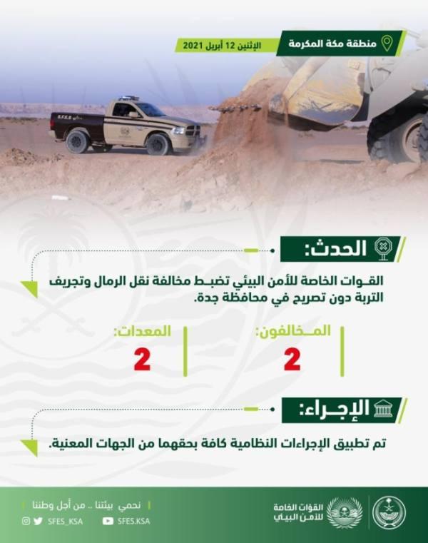 قوات الأمن البيئي تضبط مخالفَين ينقلان الرمال ويجرفان التربة
