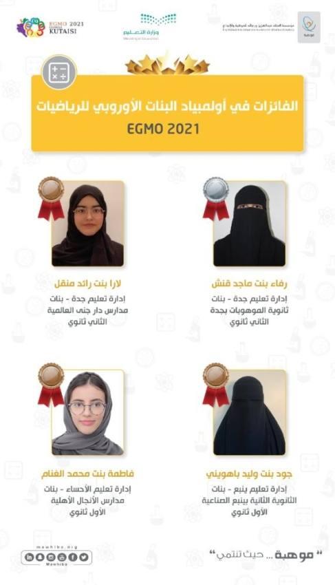 طالبات المملكة يحصدن 4 جوائز في الأولمبياد الأوروبي للرياضيات