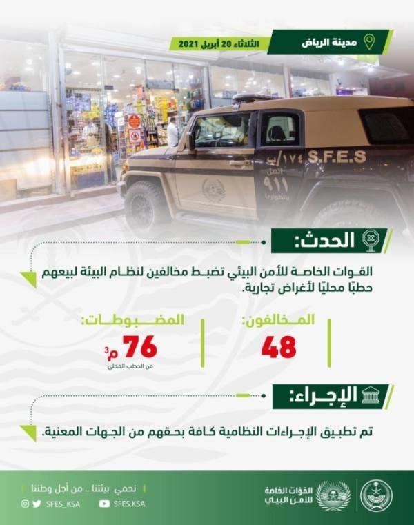 الأمن البيئي يضبط 48 مواطنًا يبيعون حطبًا محليًا