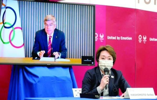 هاشيموتو رئيس اللجنة المنظمة للأولمبياد في اجتماع عن بعد مع رئيس اللجنة الأولمبية الدولية