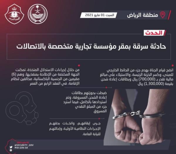القبض على منفذي حادثة سرقة مؤسسة تجارية متخصصة بالاتصالات في الرياض