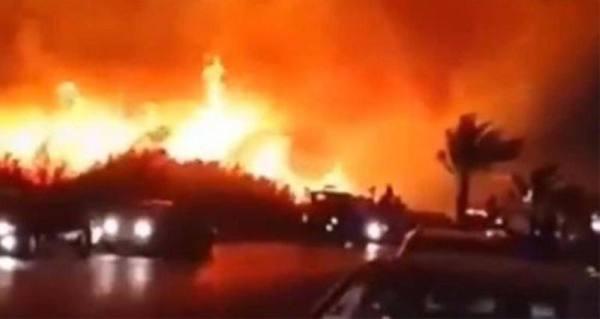 إيران .. حريق ضخم بالقرب من المفاعل النووي الإيراني في بوشهر