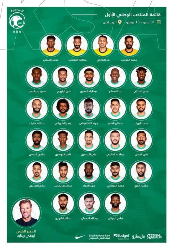 27 لاعبًا ضمن قائمة الأخضر لمباريات تصفيات كأس العالم 2022