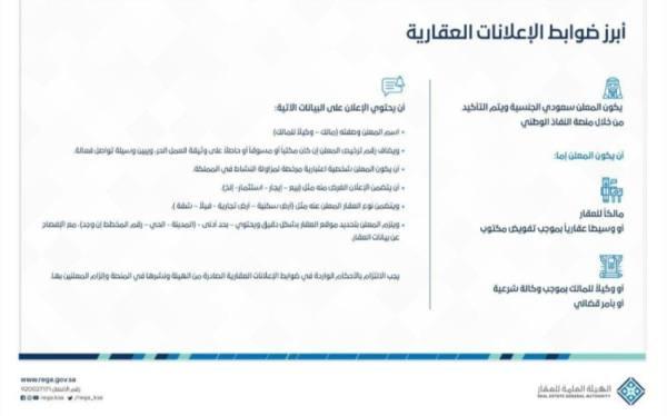 صدور ضوابط الإعلانات العقارية ومعايير ترخيص المنصات الإلكترونية وتصنيفها