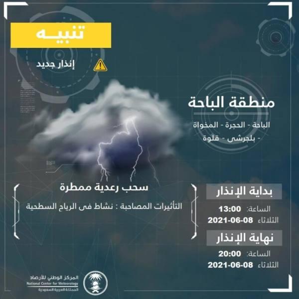 المركز الوطني للأرصاد: سحب رعدية ممطرة على منطقة الباحة