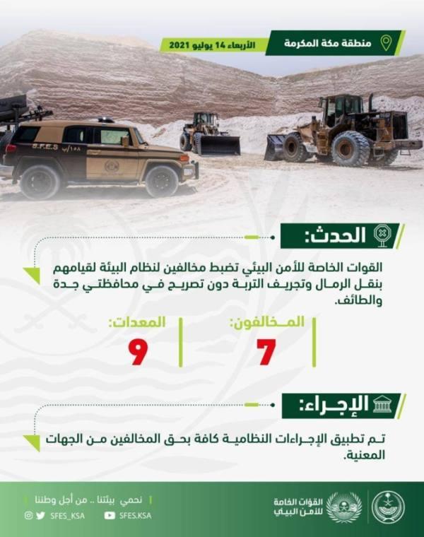 الأمن البيئي: ضبط (7) مخالفين يقومون بنقل الرمال وتجريف التربة