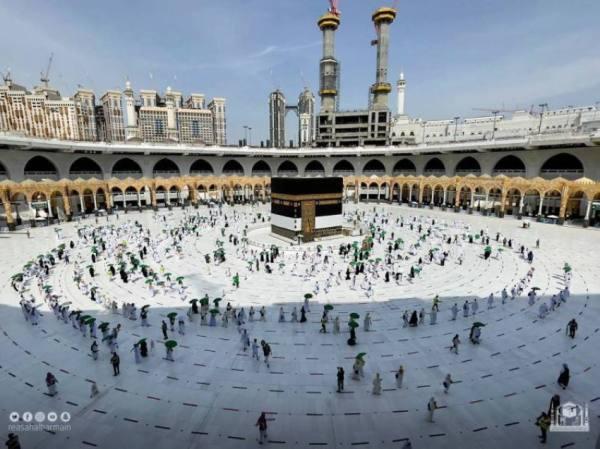 شؤون الحرمين تجهز مسارات لتنظيم حركة ضيوف الرحمن بصحن الطواف