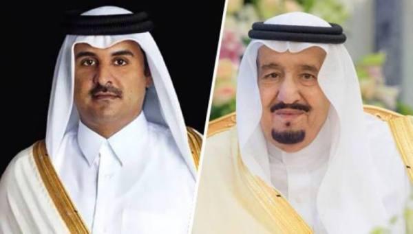 خادم الحرمين يتلقى اتصالاً هاتفيًا من أمير قطر