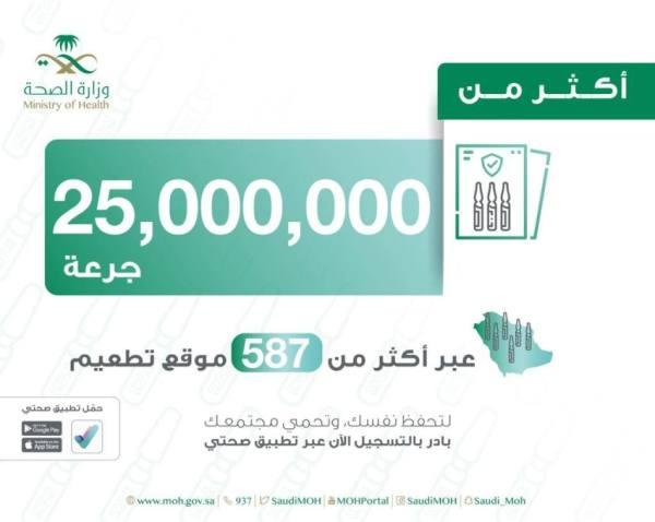 الصحة: إعطاء أكثر من 25 مليون جرعة لقاح بالمملكة