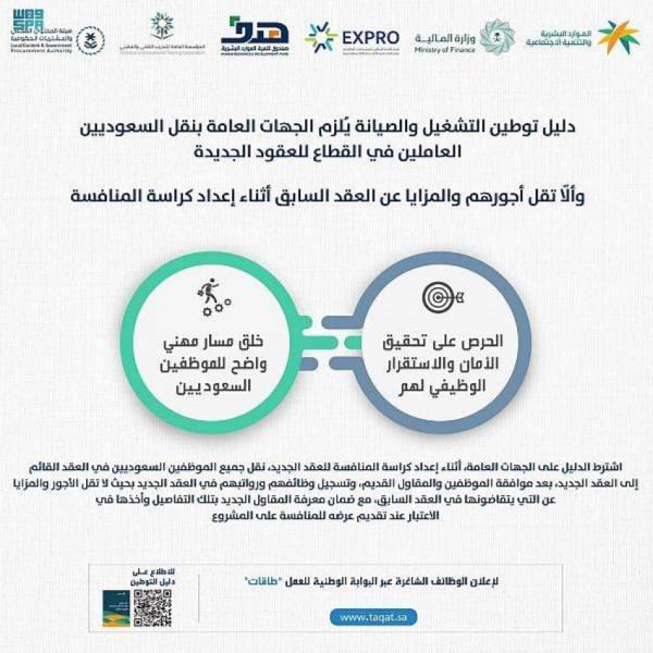 دليل توطين التشغيل والصيانة يُلزم الجهات العامة بنقل السعوديين العاملين في القطاع للعقود الجديدة