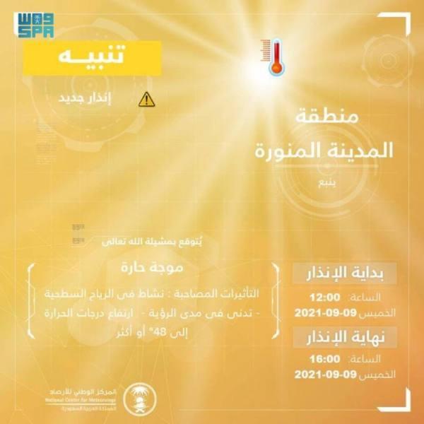 الأرصاد: موجة حارة على محافظة ينبع