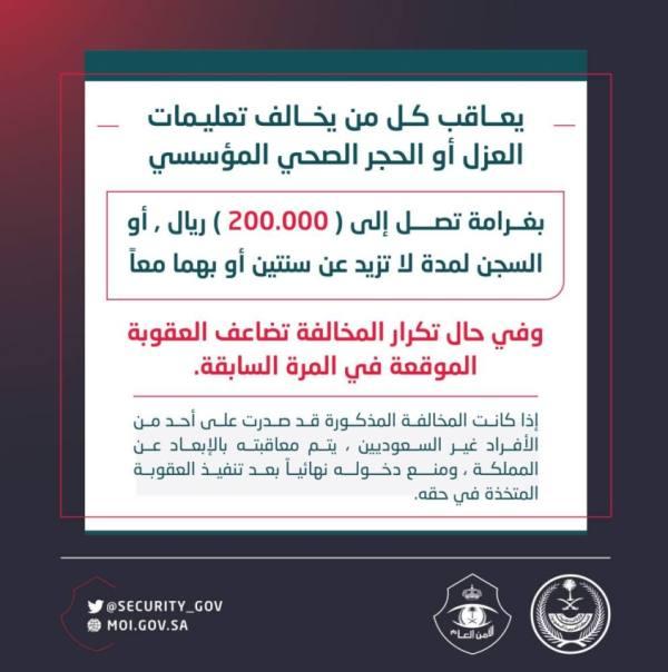 200,000 ريال غرامة أو السجن أو بهما معا.. لكل من يخالف تعليمات العزل أو الحجر الصحي