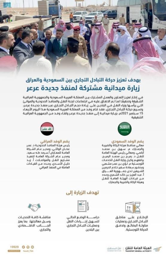 زيارة ميدانية مشتركة لمنفذ جديدة عرعر الحدودي بين المملكة والعراق