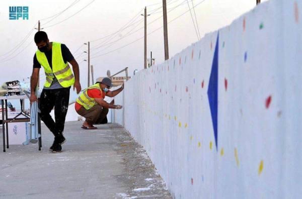 أمانة الشرقية تنفذ أطول جدارية بالدمام والخفجي بمناسبة اليوم الوطني
