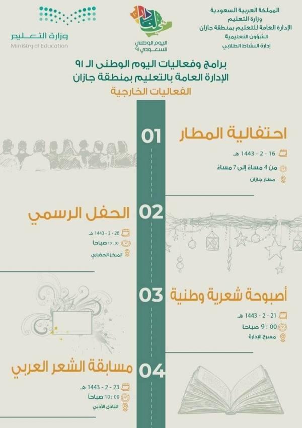 تعليم جازان:  فعاليات متنوعة في احتفالية اليوم الوطني
