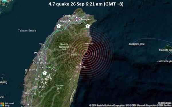 زلزال بقوة 5 درجات على مقياس ريختر يضرب تايوان