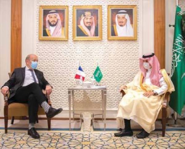 ابن فرحان والجبير يلتقيان وزير خارجية فرنسا