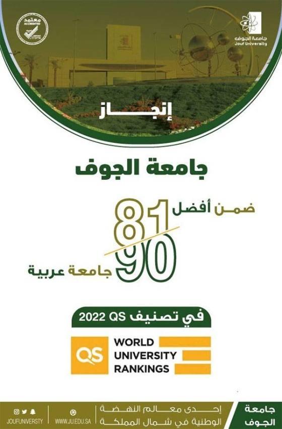 جامعة الجوف تحقق قفزة جديدة في تصنيف QS 2022 العالمي للجامعات العربية